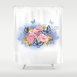 Three Pink Roses with Butterflies Shower Curtain