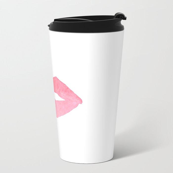 MAKEUP PRINT Pink Lips Watercolor Print Fashion Poster Abstract Lips Art Lipstick Chic Metal Travel Mug