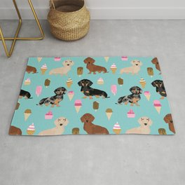 dachshund ice cream multi coat doxie dog breed cute pattern gifts Rug
