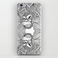 planet of the apes iPhone & iPod Skins featuring Rise of the Dawn of the Planet of the Psychedelic Apes by The Rural drawer by Inky Doodles