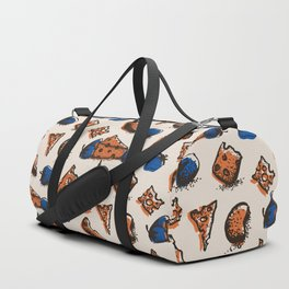 Retro colored pattern with cheese & strawberry Duffle Bag