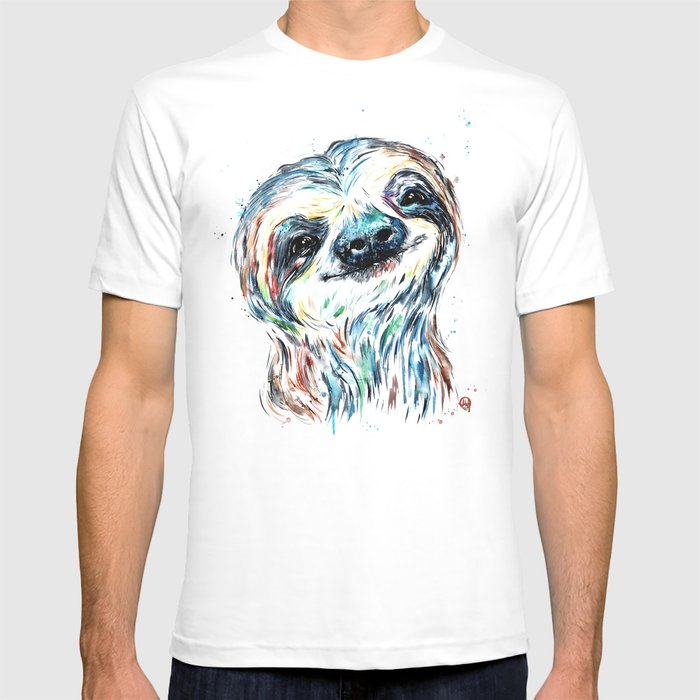 Smiling sloth baby colorful watercolor painting T-shirt