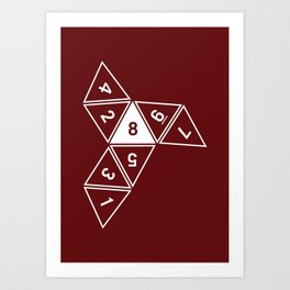 Red Unrolled D8 Art Print