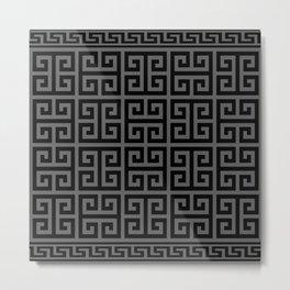 Greek Key (Grey & Black Pattern) Metal Print
