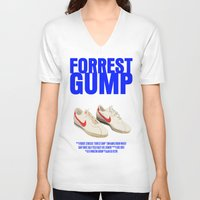 forrest gump V-neck T-shirts featuring Forrest Gump Movie Poster by FunnyFaceArt