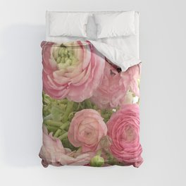 Shabby Chic Cottage Ranunculus Peonies Roses Floral Print & Home Decor Comforters