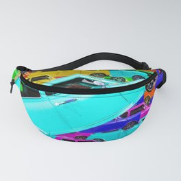 vintage classic car toy pattern background in yellow blue pink green orange Fanny Pack