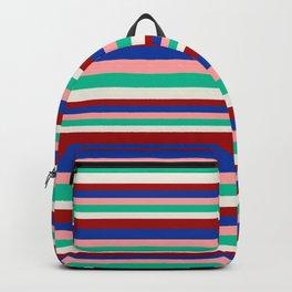 Colored Stripes - Dark Red Blue Rose Teal Cream Backpack