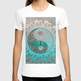 Pretty Chic Teal Tree of Life with Yin Yang and Heart T-shirt