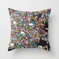 sticker Throw Pillows featuring Sticker Bomb by thickblackoutline