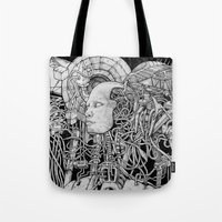 robot Tote Bags featuring Robot by Walid Aziz