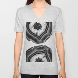 Gray Black White Agate with Black Silver Glitter #1 #gem #decor #art #society6 Unisex V-Neck