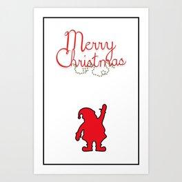 Merry Christmas with Santa and black borders Art Print