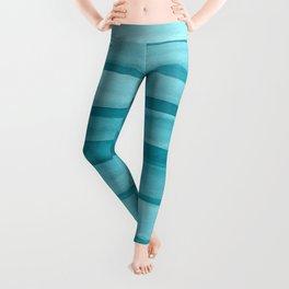 Teal Watercolor Lines Pattern Leggings
