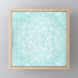 Boho Mandala Love Flower of Life, Pastel Teal Blue Framed Mini Art Print