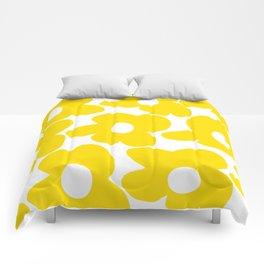 Large Yellow Retro Flowers on White Background #decor #society6 #buyart Comforters