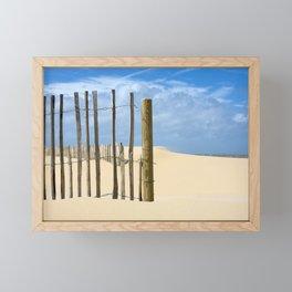 Fence in the sand Framed Mini Art Print