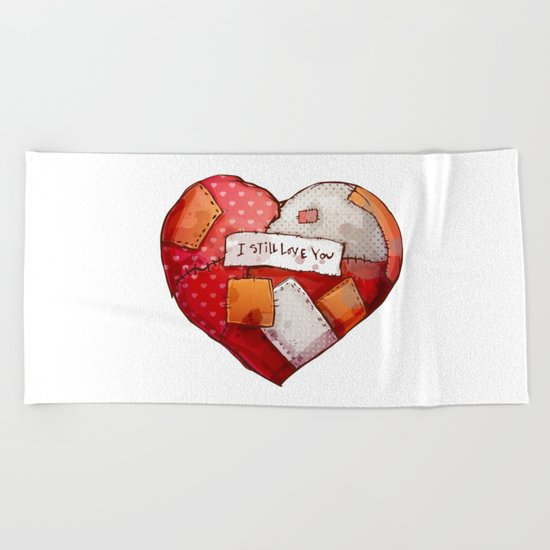 Heart with patches. Valentines day illustration. Beach Towel