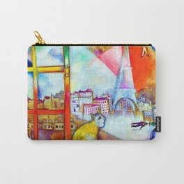 'Paris Through the Window - Eiffel Tower, Seine, & Left Bank' landscape painting by Marc Chagall Carry-All Pouch