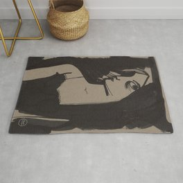 Romantic Lady portarit black ink on craft paper Rug
