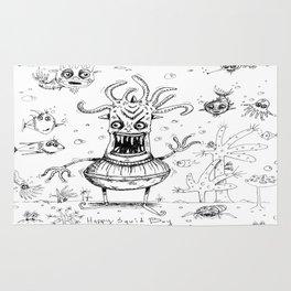 Happy Squid Boy and Friends sketch Rug