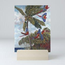Parrots flying West Mini Art Print