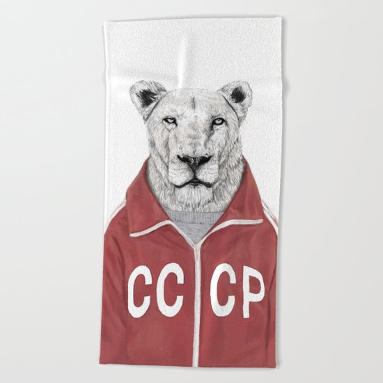 Soviet lion Beach Towel