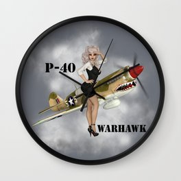 P-40 Pin Up Art Wall Clock