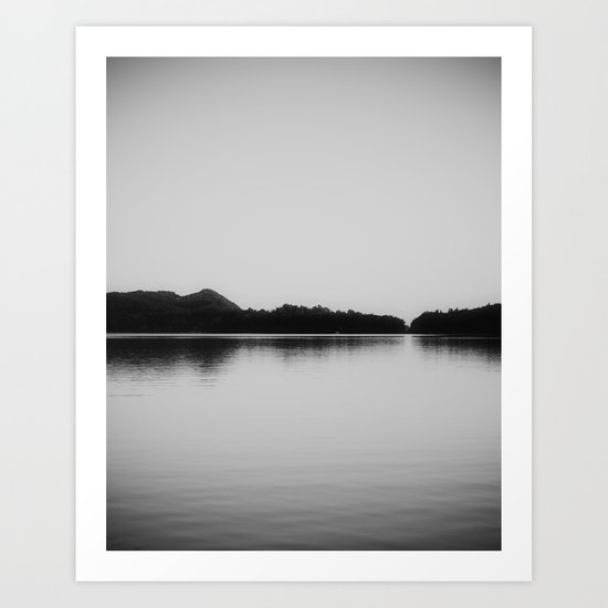 Herring Lake Black and White Art Print