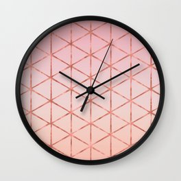 Triangle Pattern - Rose Gold Wall Clock