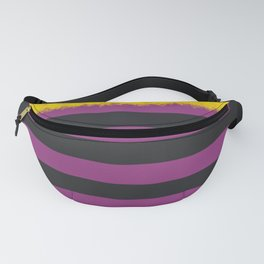 Plum and Charcoal Stripes with Yellow Fanny Pack
