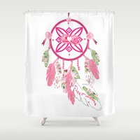 shabby chic Shower Curtains featuring Shabby Chic Dream Catcher by KarenHarveyCox