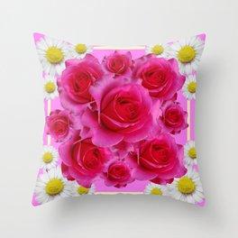 Purple Fuchsia Rose & Daisy  Flowers Art Design Abstract Throw Pillow