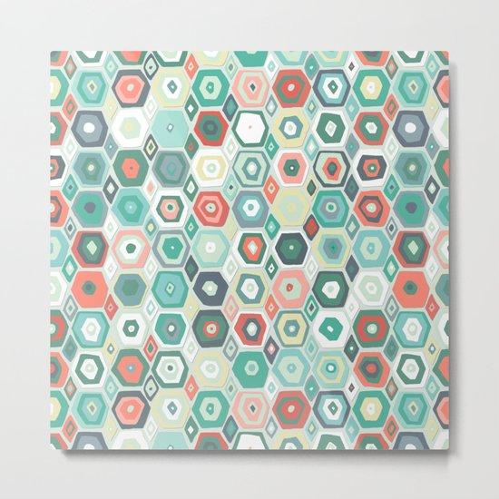 hex diamond coral mint Metal Print