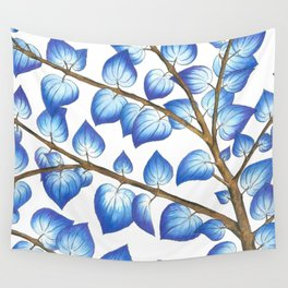 Breezy Blue Leaves Wall Tapestry