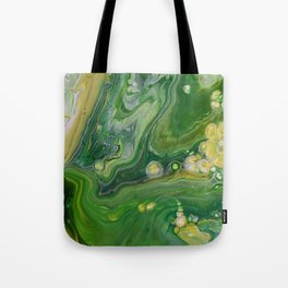 Take Five II -  Green Yellow Fluid Marble Painting Tote Bag