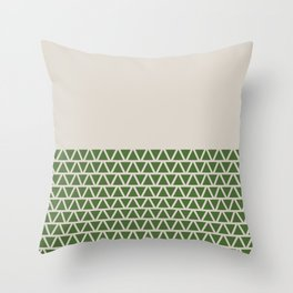 Triangles half Pattern (Treetop Green, Cream) Throw Pillow