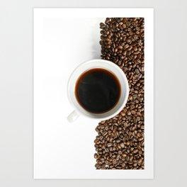 Coffee Mug and Beans Art Print