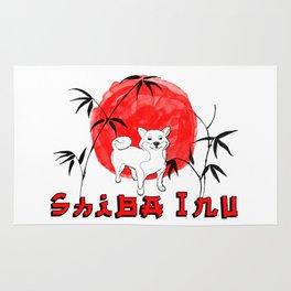 Red Sun Shiba Inu Rug