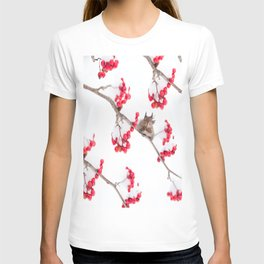 Cute Squirrel With Red Rowan Berries On A White Background #decor #society6 #buyart T-shirt