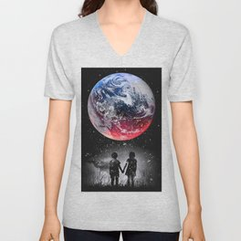Red blue earth Unisex V-Neck