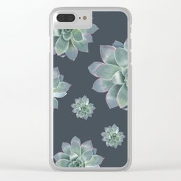 Succulent - navy background Clear iPhone Case