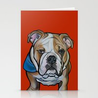 english bulldog Stationery Cards featuring Johnny the English Bulldog by Pawblo Picasso