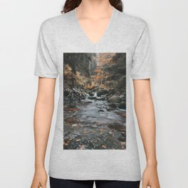 Autumn Creek - Landscape and Nature Photography Unisex V-Neck