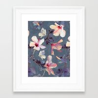storm Framed Art Prints featuring Butterflies and Hibiscus Flowers - a painted pattern by micklyn