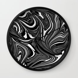 Black White Grey Marble Wall Clock