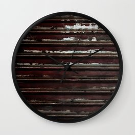 Rusted Metal Chipped Paint Texture - Industrial Line Pattern Wall Clock