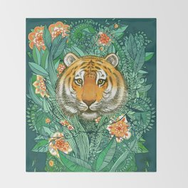 Tiger Tangle in Color Throw Blanket