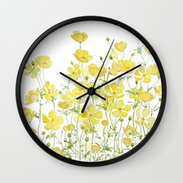 yellow buttercup flowers filed watercolor  Wall Clock