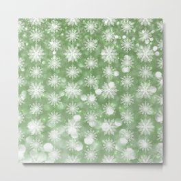 Holiday Mint and Flurries Metal Print